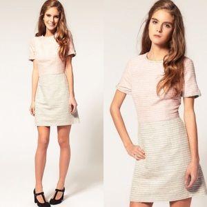 ASOS Petite Pink Gray Tweed Mini Dress Size 4